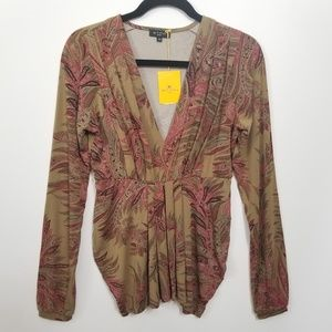 Etro Size 8 Paisley Gathered Pleated Top 302